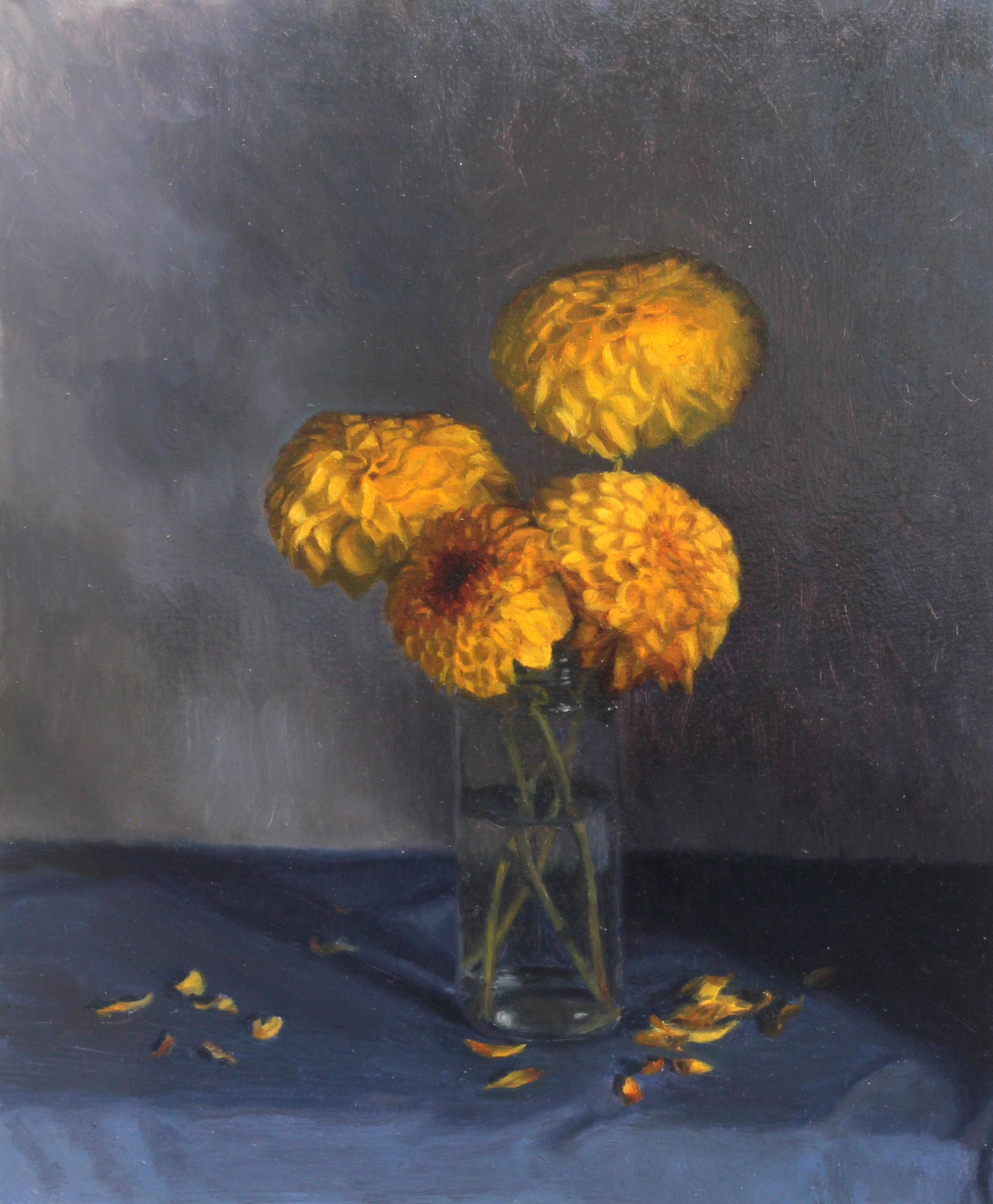 Yellow Dahlias on a Blue Cloth