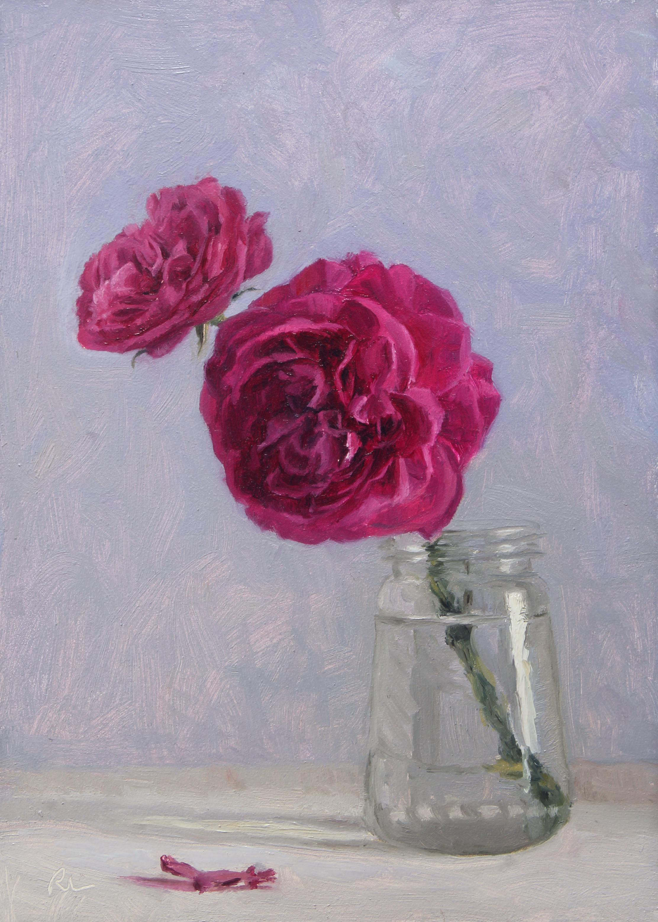 Two Pink Roses in a Glass Jar