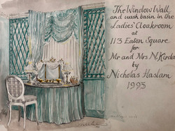The Window Wall and Wash Basin in the Ladies' Cloakroom at 113 Eaton Square for Mr and Mrs N. Kirdar