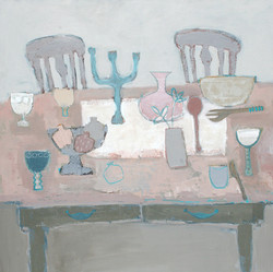 Pink Table and Pomegranates