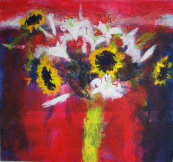 Sunflowers and Lilies on Red