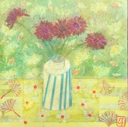 Gerbera with Stripy Vase