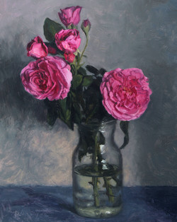 Gertrude Jekyll Roses in a Glass Jar