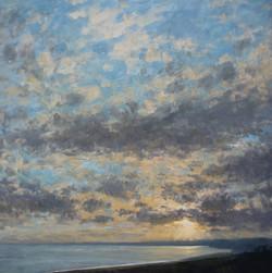 Evening light over Lyme Bay