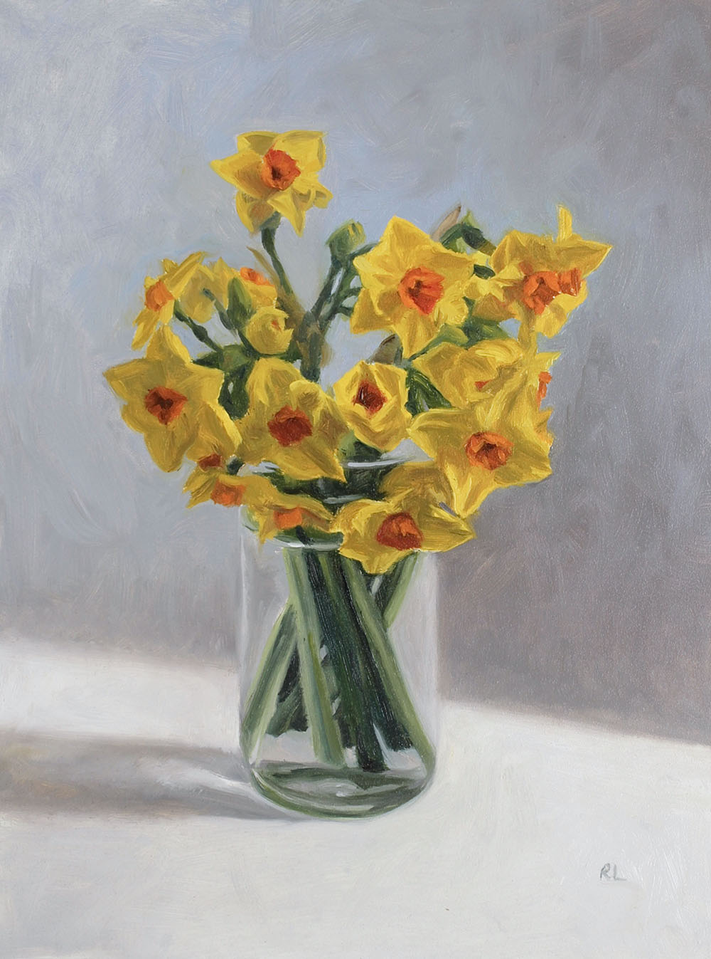 Yellow & Orange Narcissi in a Glass Jar