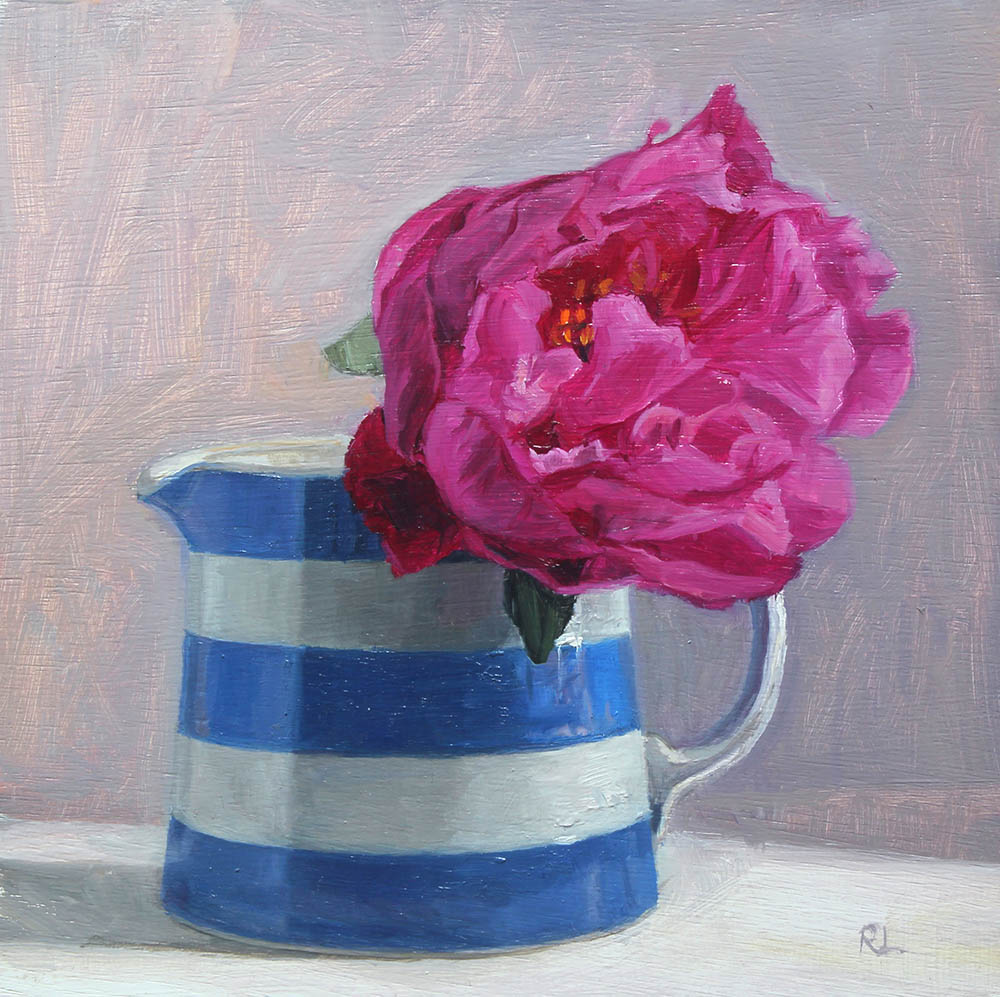 Peony in a Striped Jug