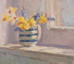 Spring Flowers in a Striped Jug