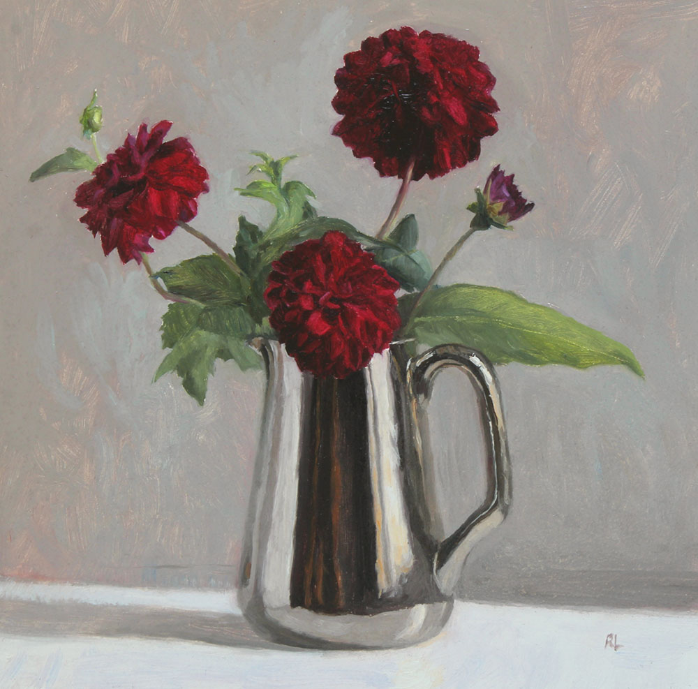Red Dahlias in a Silver Lustre Jug