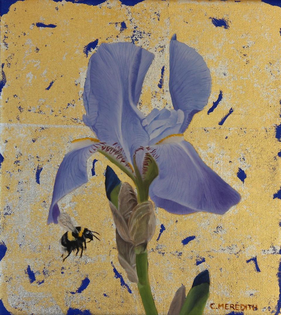 Blue Iris & Bumblebee