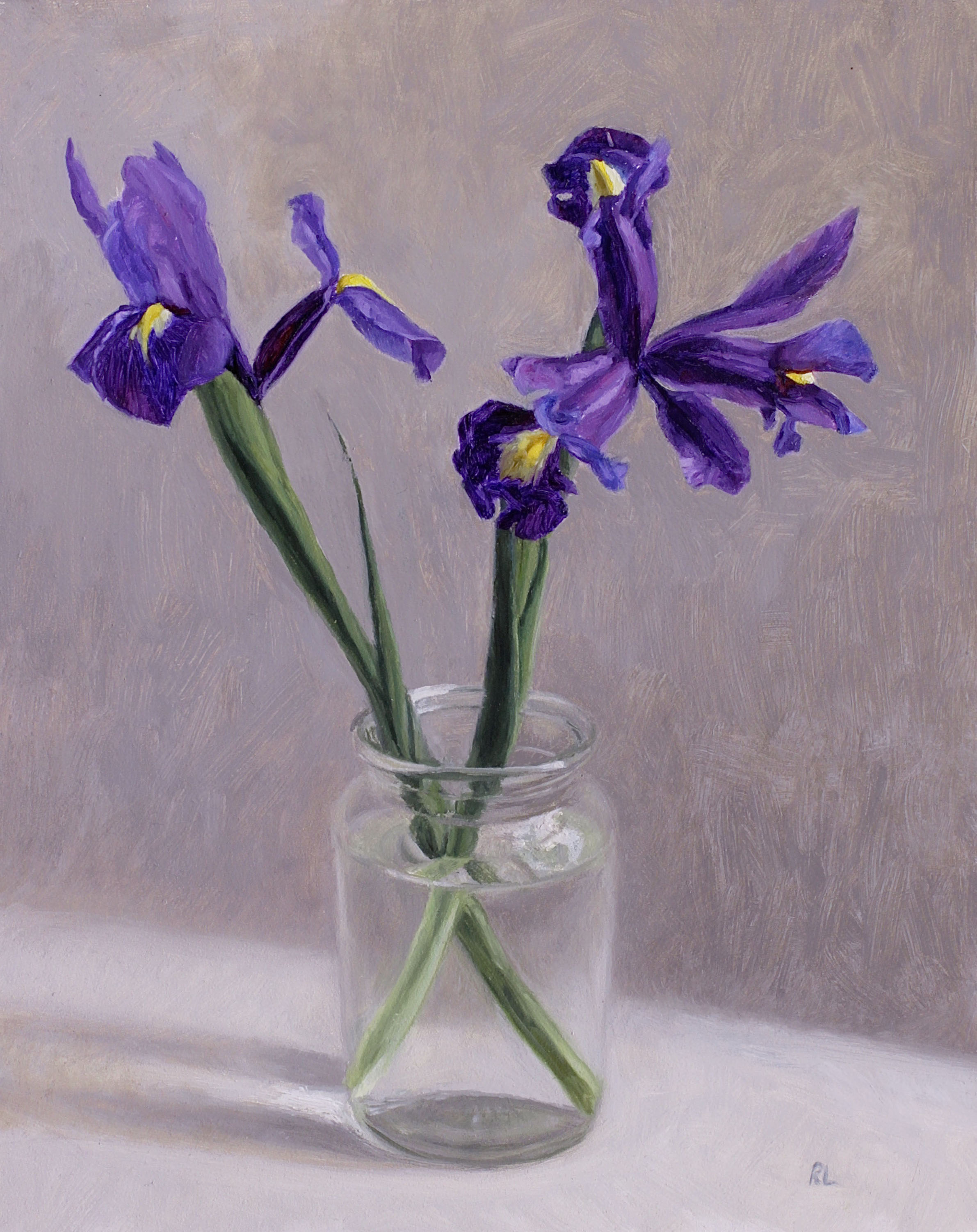 Purple Irises in a Glass Jar