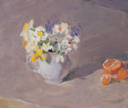 Spring Flowers with a Clementine