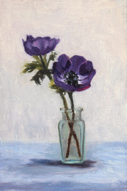 Blue Anemones in a Glass Bottle
