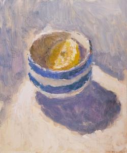 Lemon Half in a Cornishware Bowl