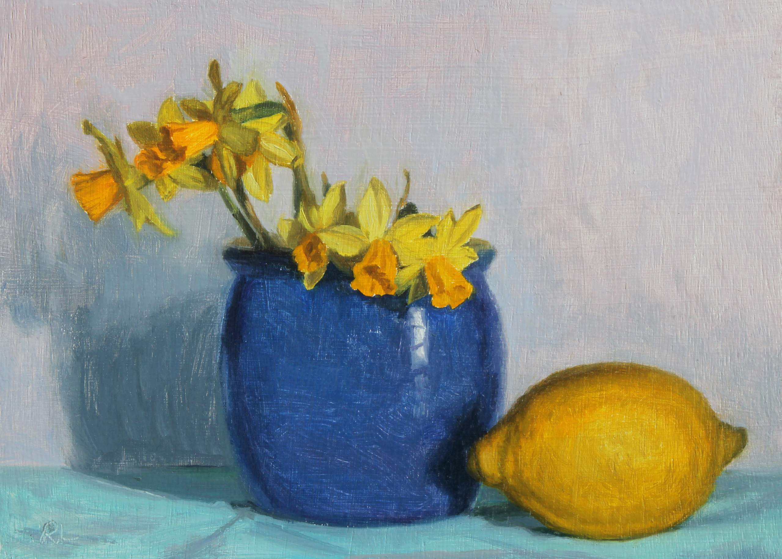 Daffodils in a Blue Jar