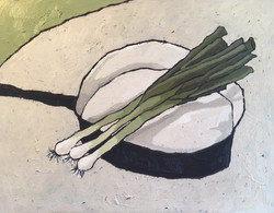 Spring Onions on Pan,