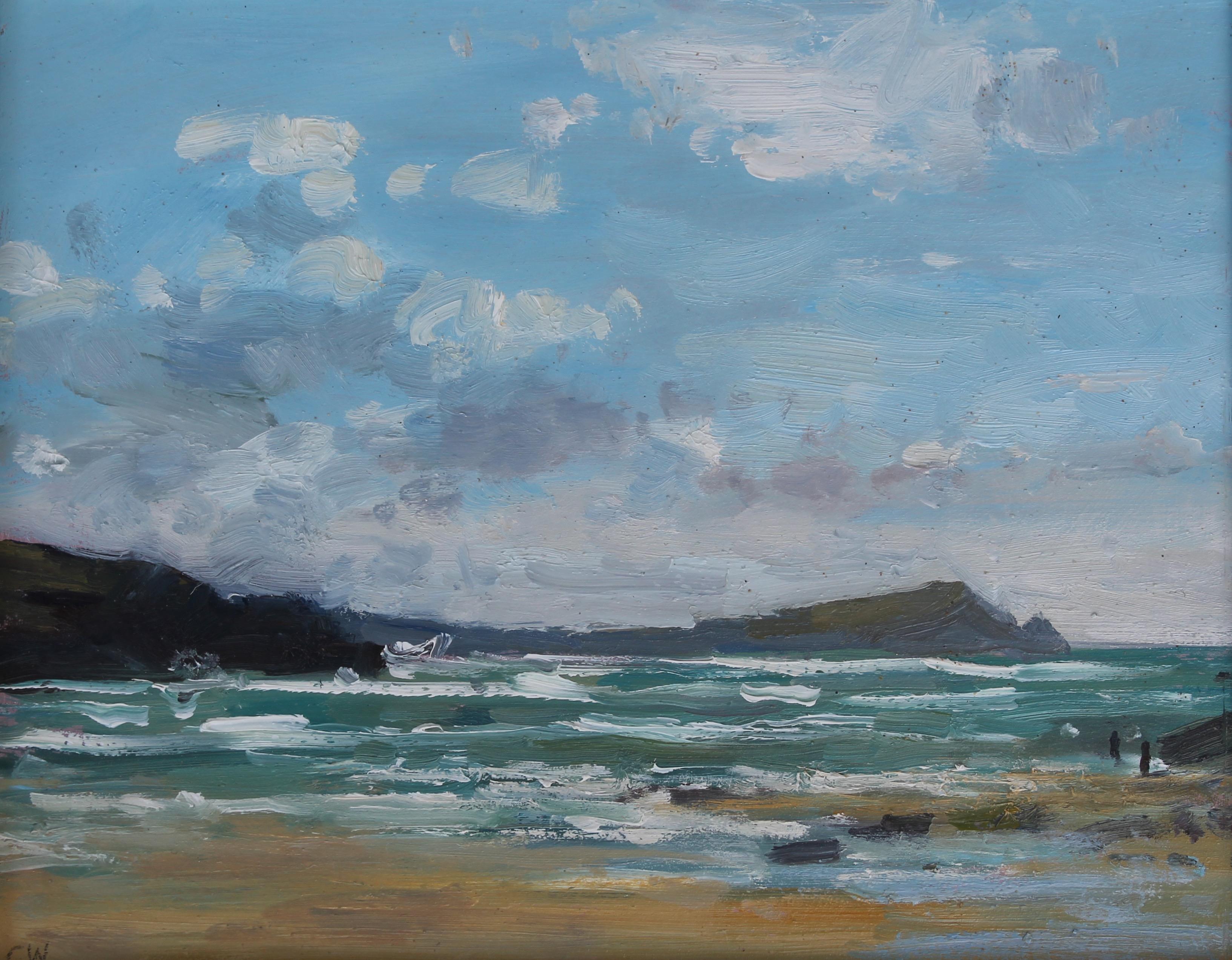 Incoming tide, Porth Beach