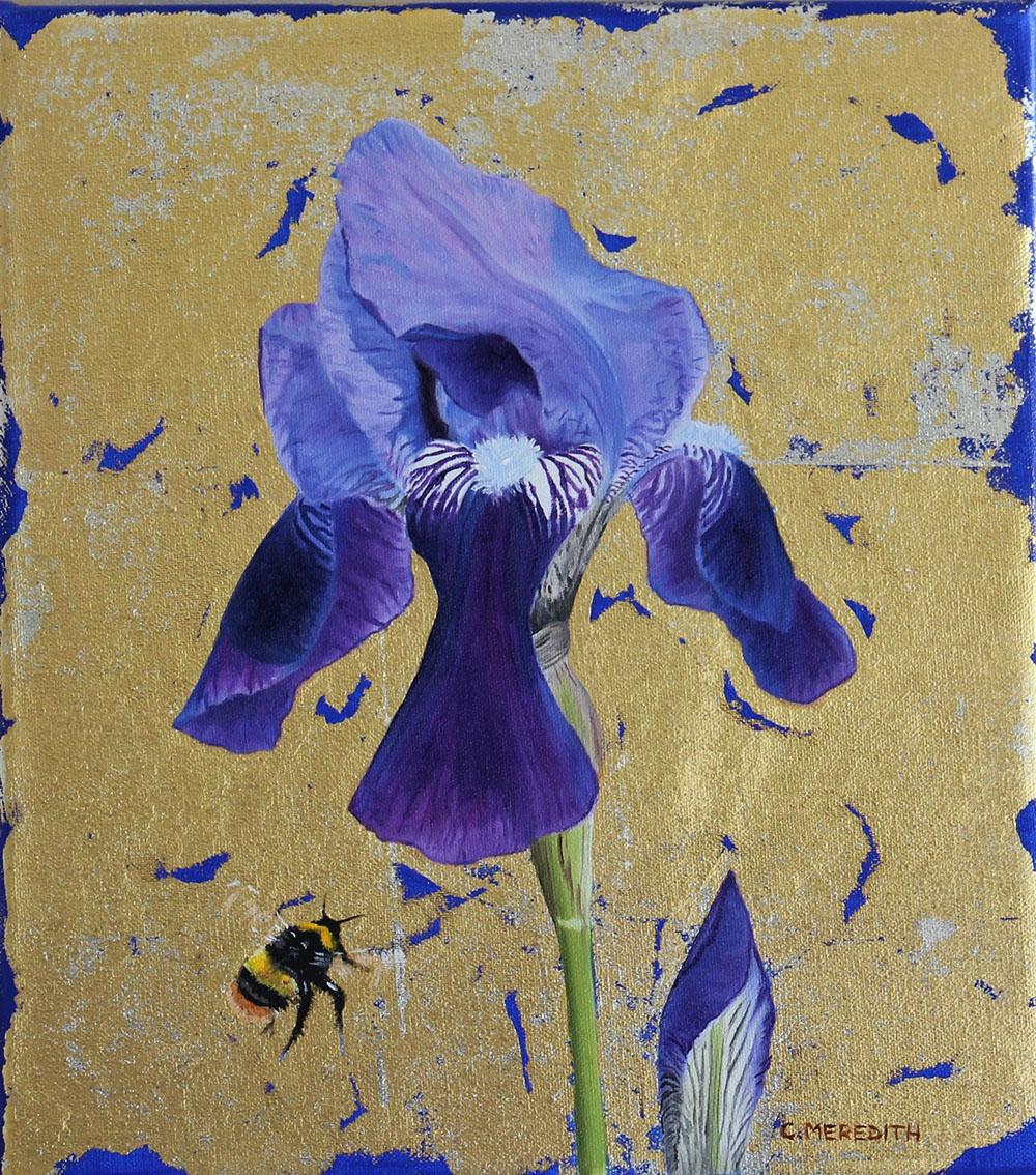 Purple Iris & Bumblebee