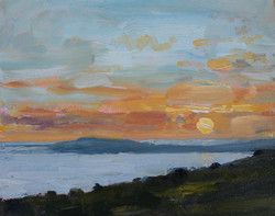 Sun setting over Weymouth Bay