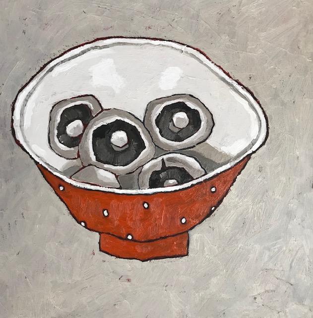 Mushrooms in Orange Bowl