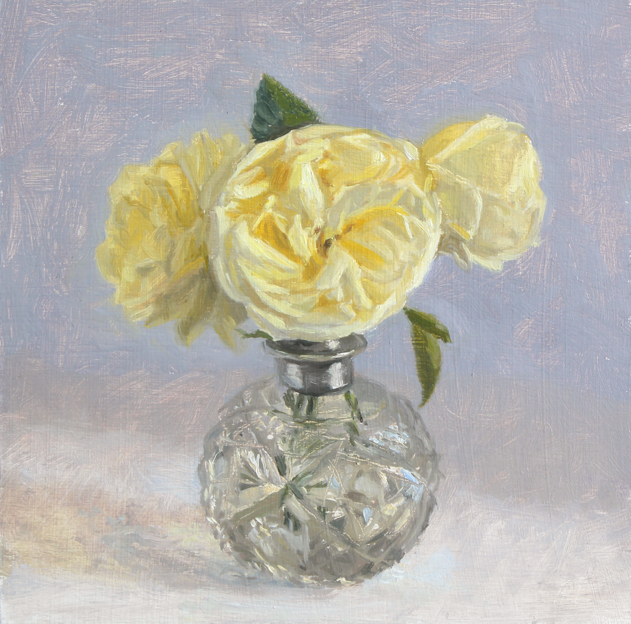 Cream Roses in a Cut Glass Bottle