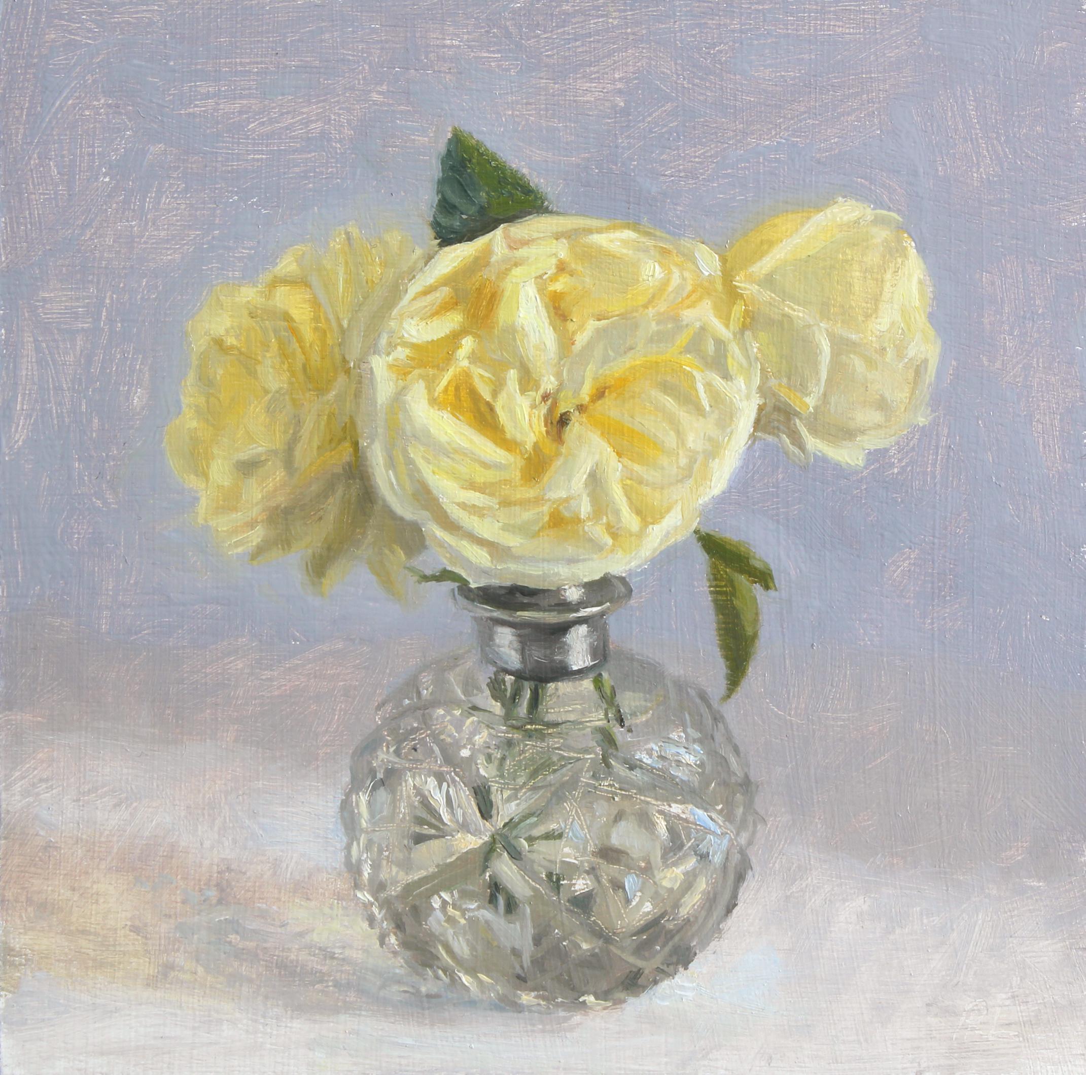 Cream Roses in a Cut Glass Bottle