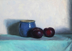 Blue Jar with Plums