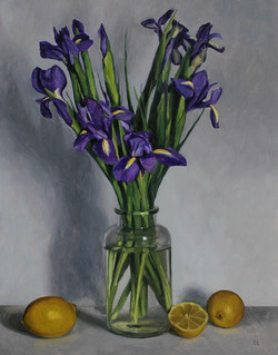Still Life with Irises and Lemons