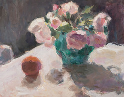 Roses in a Turquoise Jug