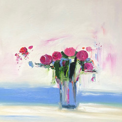 Pink Flowers with Blue Stripe