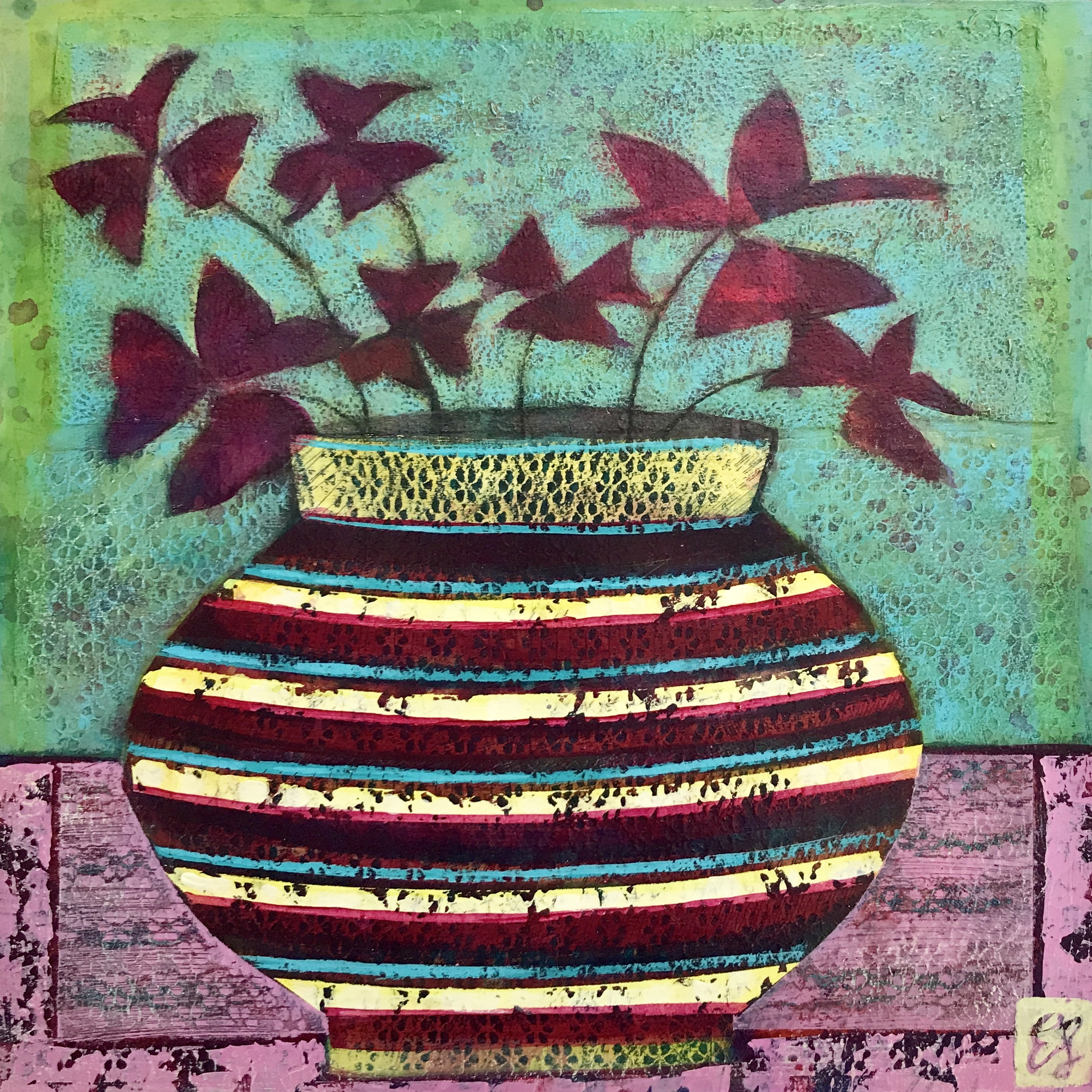 Striped Vase with Oxalis