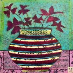 Striped Vase with Oxalis