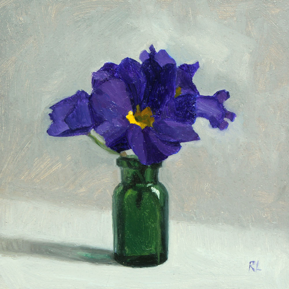 Blue Primulas in a Green Bottle