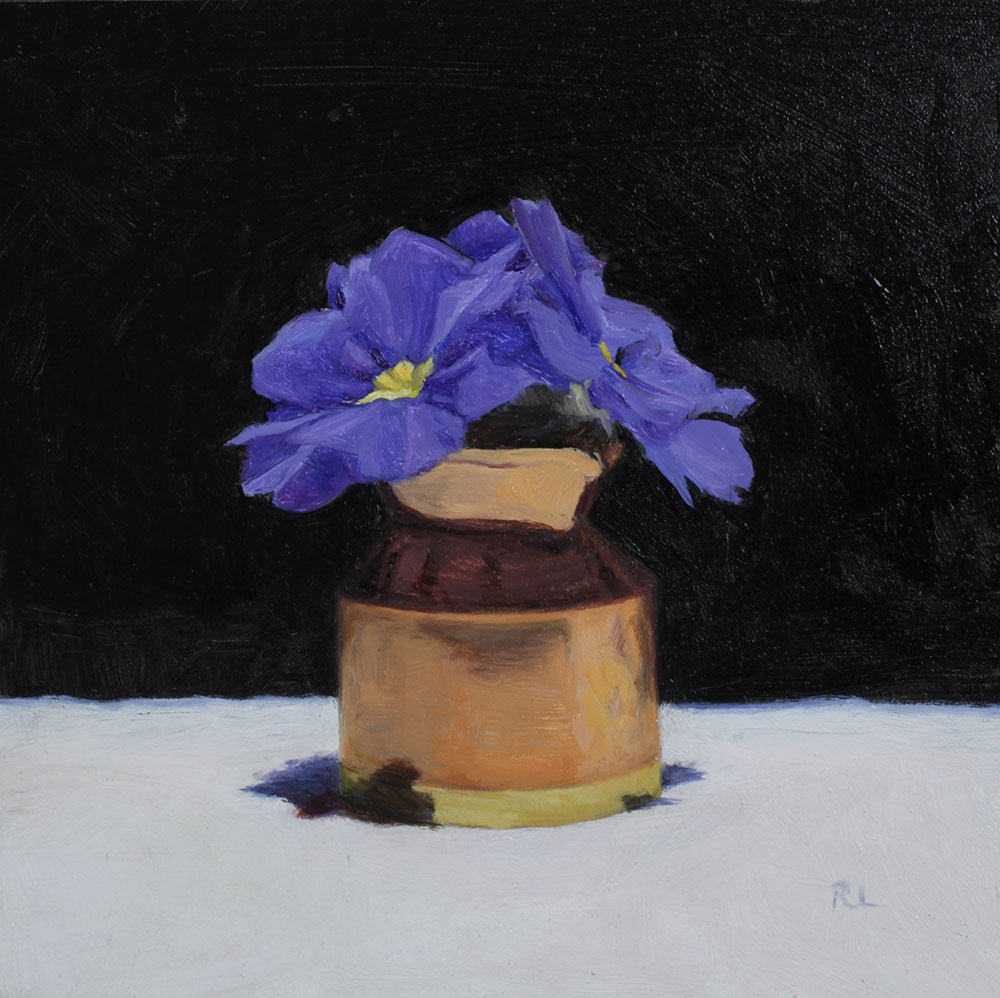 Blue Primulas in a Copper Jug