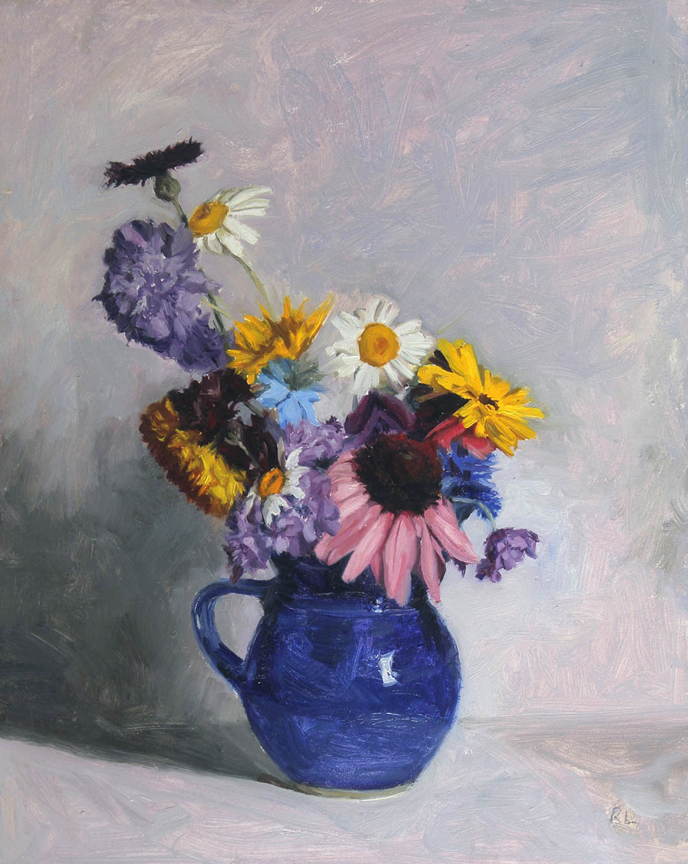 June Posy in a Blue Jug