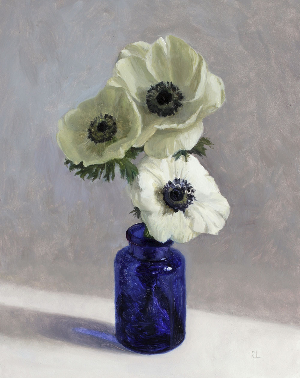 Anemones in a Blue Bottle