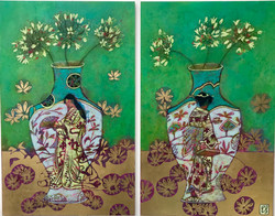 Ladies and The Agapanthus (Diptych)