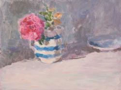 Winter Rose in Striped Jug