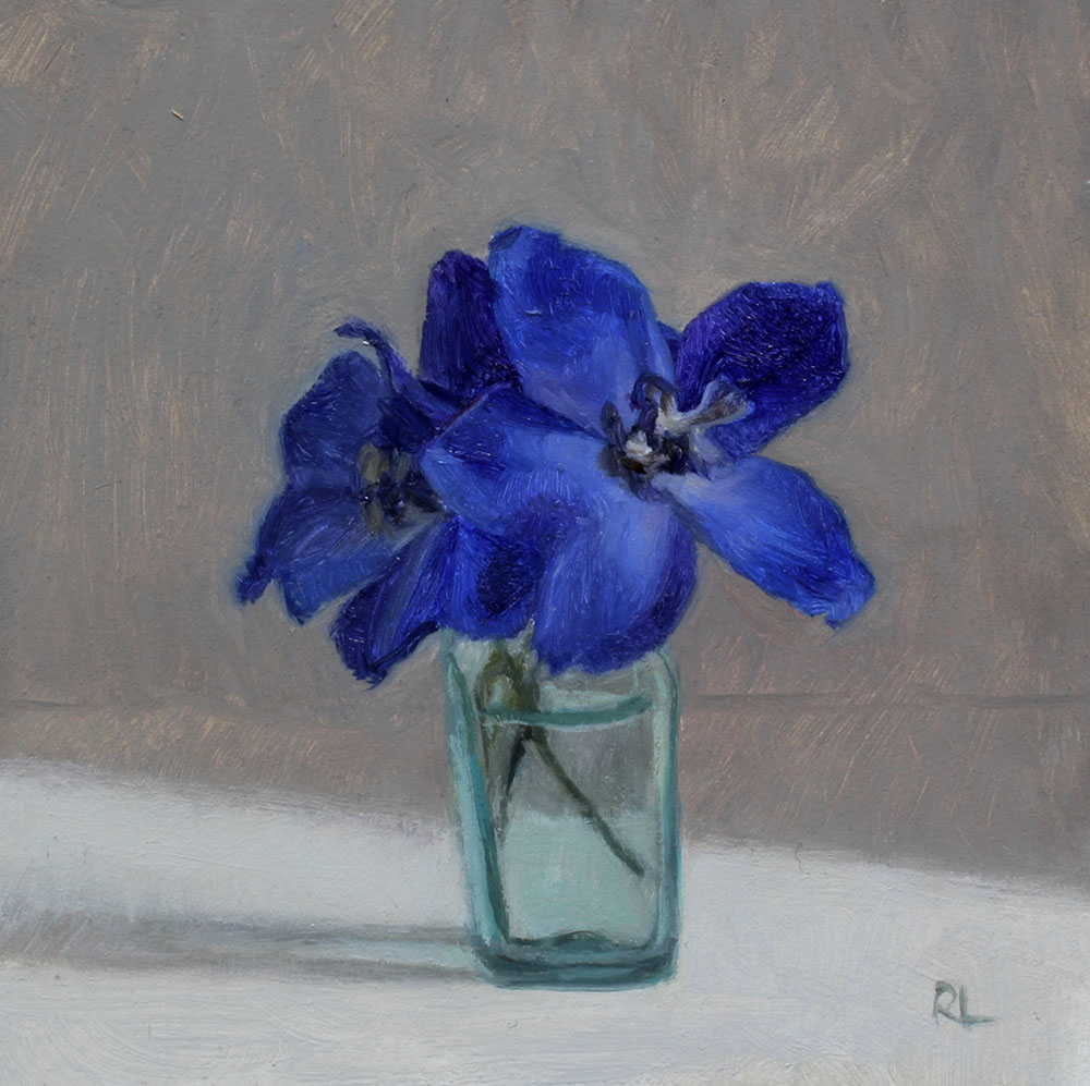 Delphiniums in a Glass Bottle