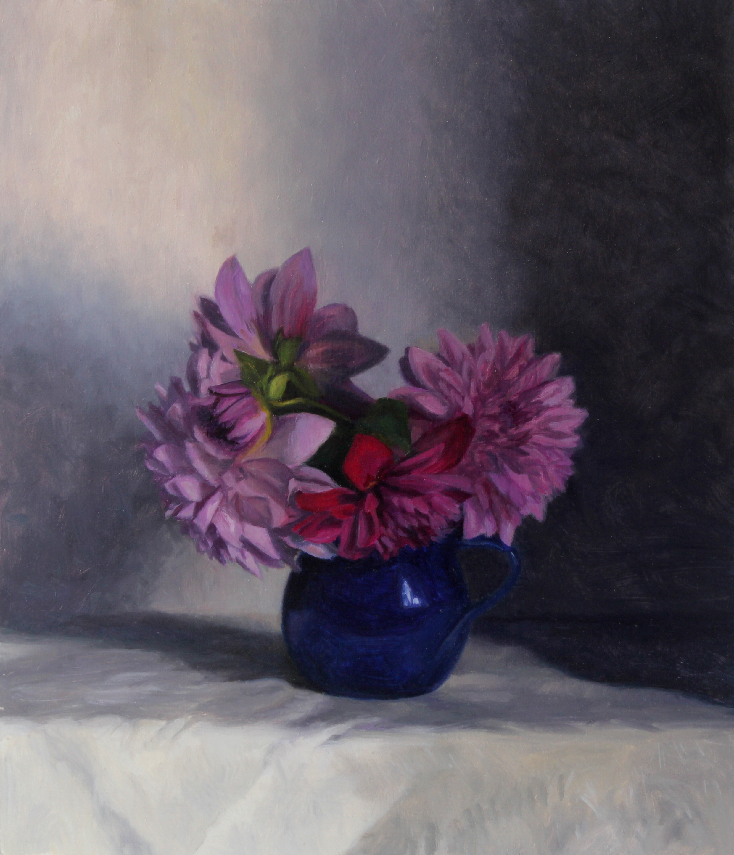 Pink Dahlias in a Blue Jug