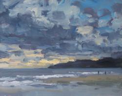 Rain clouds over Lyme Regis