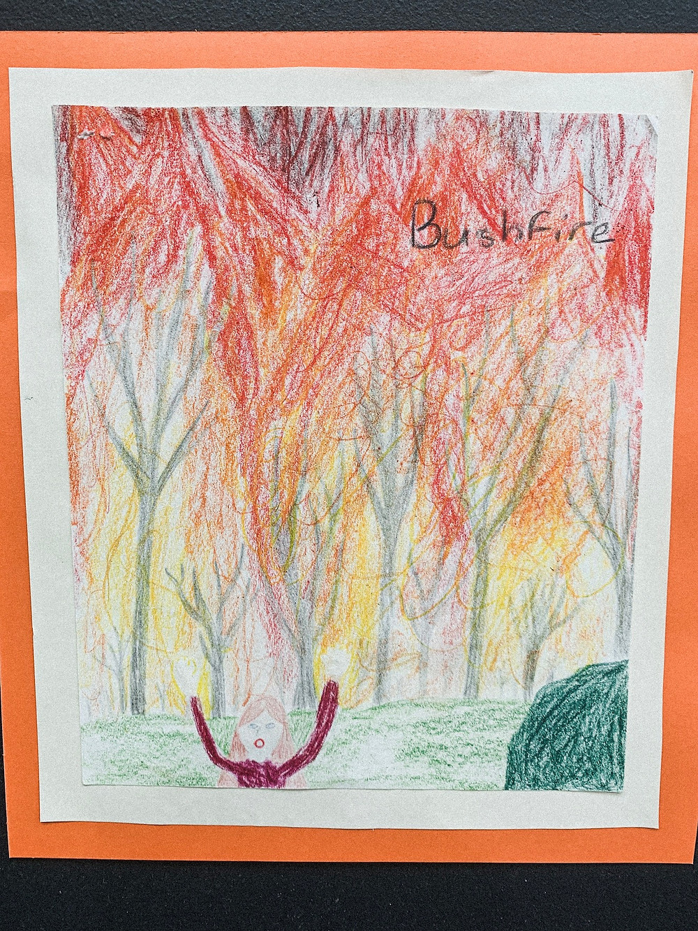 Drawing of Bushfire done by a child.