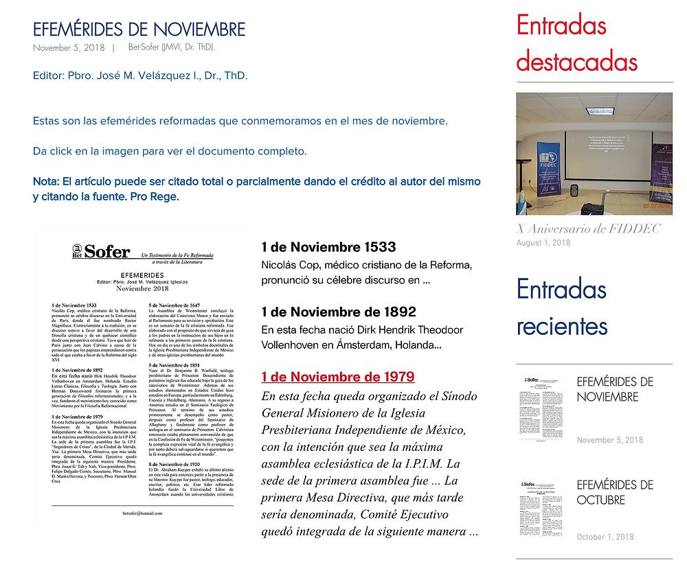 FIDDEC: Efemérides noviembre