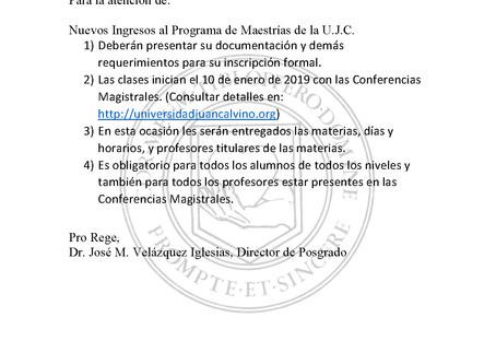 COMUNICADO a los alumnos de POSGRADO (Enero.2019)