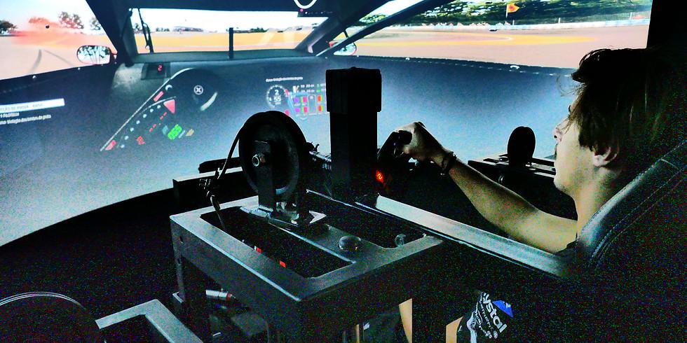 Pilote um simulador profissional de corrida
