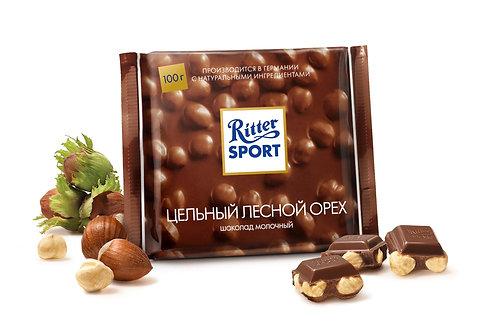 Шоколад Ritter Sport молочный цельный лесной орех 100 Гр