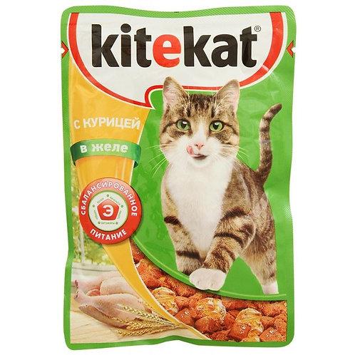 Влажный корм для кошек с курицей KITEKAT 85 Гр