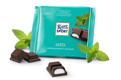 Шоколад Ritter Sport темный с мятой 100 Гр