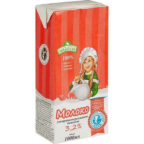 Молоко ультрапастеризованное Молти 3.2 % ГОСТ для детского питания 1 л