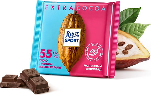 Шоколад Cocoa молочный Ritter Sport 55 % 100 Гр