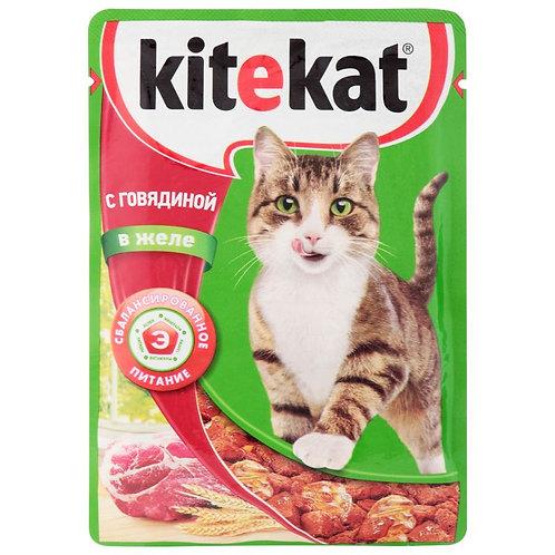 Влажный корм для кошек с говядиной KITEKAT 85 Гр